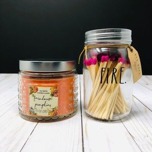 Farmhouse Pumpkin Candle and Matches Gift Set